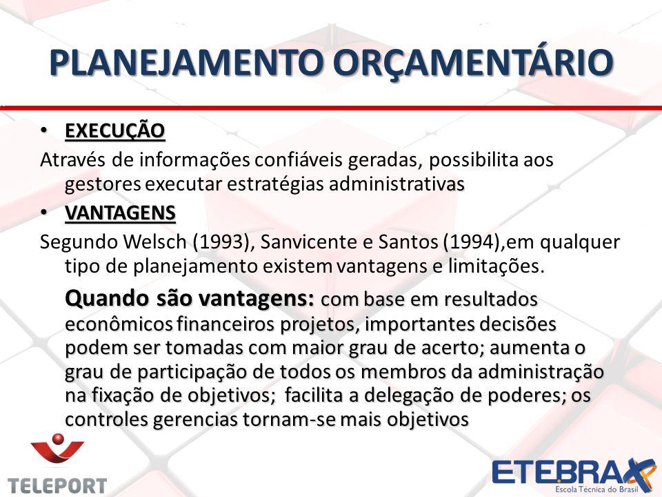 PLANEJAMENTO ORÇAMENTÁRIO EXECUÇÃO EXECUÇÃO as Através de informações confiáveis geradas, possibilita aos gestores executar estratégias administrativas VANTAGENS VANTAGENS Segundo Welsch (1993), Sanvicente e Santos (1994),em qualquer tipo de planejamento existem vantagens e limitações.