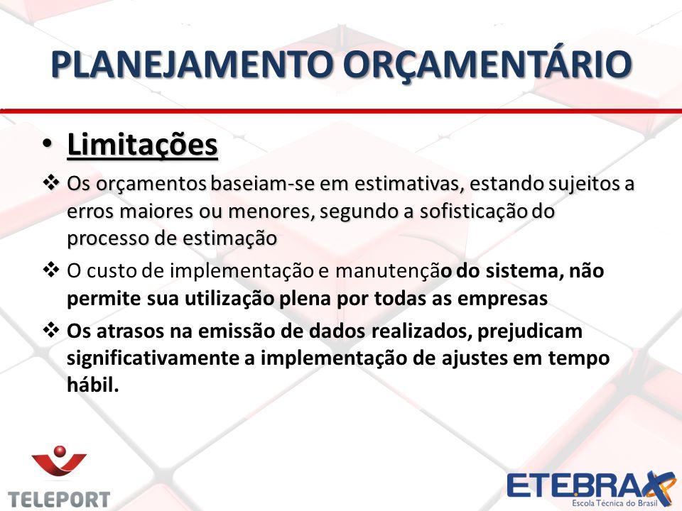 PLANEJAMENTO ORÇAMENTÁRIO Limitações Limitações Os orçamentos baseiam-se em estimativas, estando sujeitos a erros maiores ou menores, segundo a sofisticação do processo de estimação Os orçamentos baseiam-se em estimativas, estando sujeitos a erros maiores ou menores, segundo a sofisticação do processo de estimação O custo de implementação e manutenção do sistema, não permite sua utilização plena por todas as empresas Os atrasos na emissão de dados realizados, prejudicam significativamente a implementação de ajustes em tempo hábil.