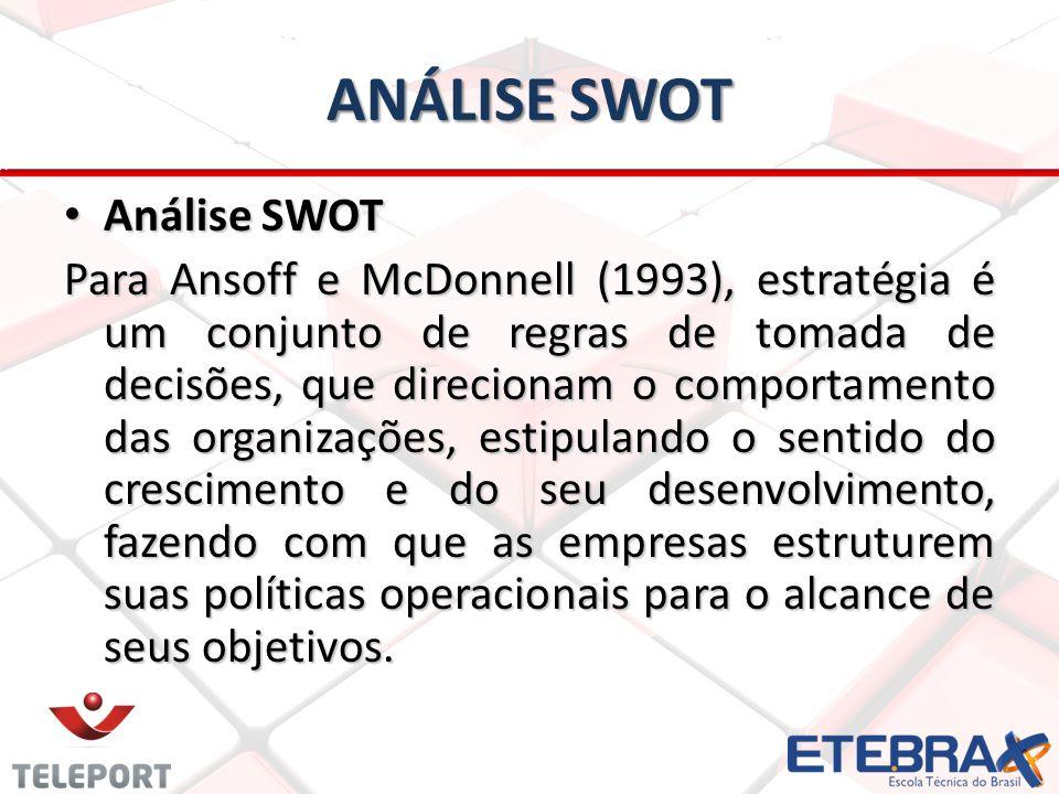 ANÁLISE SWOT Análise SWOT Análise SWOT Para Ansoff e McDonnell (1993), estratégia é um conjunto de regras de tomada de decisões, que direcionam o comportamento das organizações, estipulando o sentido do crescimento e do seu desenvolvimento, fazendo com que as empresas estruturem suas políticas operacionais para o alcance de seus objetivos.