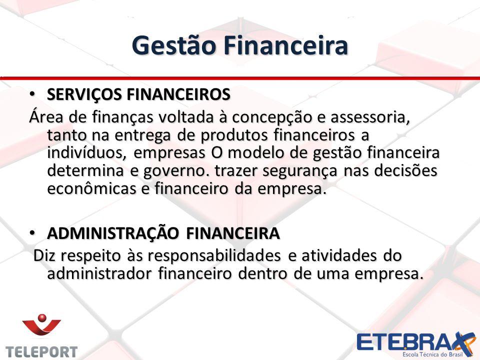 Gestão Financeira SERVIÇOS FINANCEIROS SERVIÇOS FINANCEIROS Área de finanças voltada à concepção e assessoria, tanto na entrega de produtos financeiros a indivíduos, empresas O modelo de gestão financeira determina e governo.