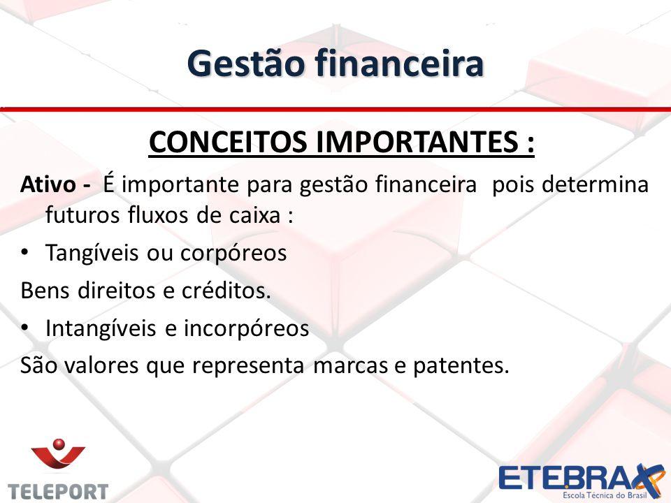 Gestão financeira CONCEITOS IMPORTANTES : Ativo - É importante para gestão financeira pois determina futuros fluxos de caixa : Tangíveis ou corpóreos Bens direitos e créditos.