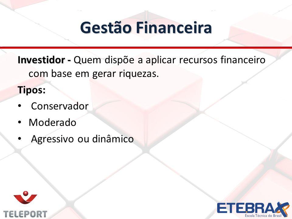 Gestão Financeira Investidor - Investidor - Quem dispõe a aplicar recursos financeiro com base em gerar riquezas.
