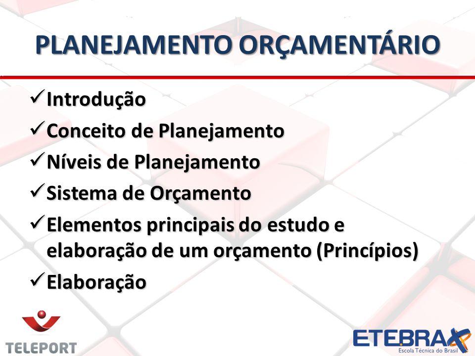 PLANEJAMENTO ORÇAMENTÁRIO Introdução Introdução Conceito de Planejamento Conceito de Planejamento Níveis de Planejamento Níveis de Planejamento Sistema de Orçamento Sistema de Orçamento Elementos principais do estudo e elaboração de um orçamento (Princípios) Elementos principais do estudo e elaboração de um orçamento (Princípios) Elaboração Elaboração