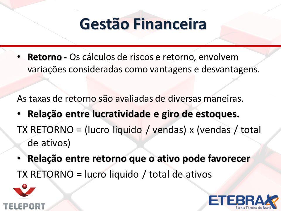 Gestão Financeira Retorno - Retorno - Os cálculos de riscos e retorno, envolvem variações consideradas como vantagens e desvantagens.