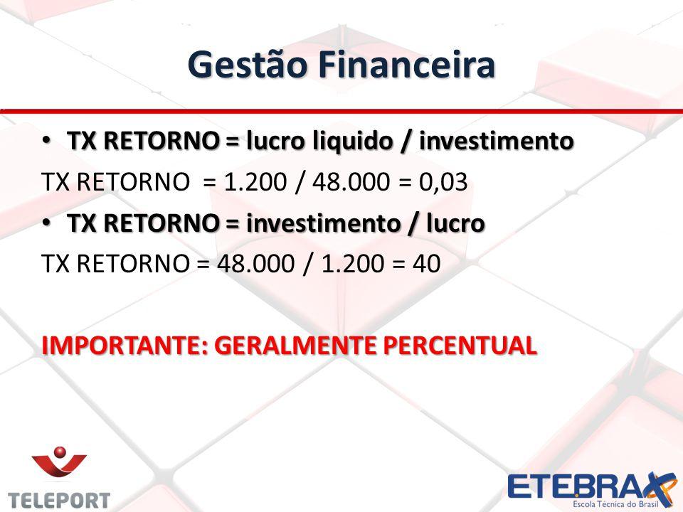 Gestão Financeira TX RETORNO = lucro liquido / investimento TX RETORNO = lucro liquido / investimento TX RETORNO = 1.200 / 48.000 = 0,03 TX RETORNO = investimento / lucro TX RETORNO = investimento / lucro TX RETORNO = 48.000 / 1.200 = 40 IMPORTANTE: GERALMENTE PERCENTUAL
