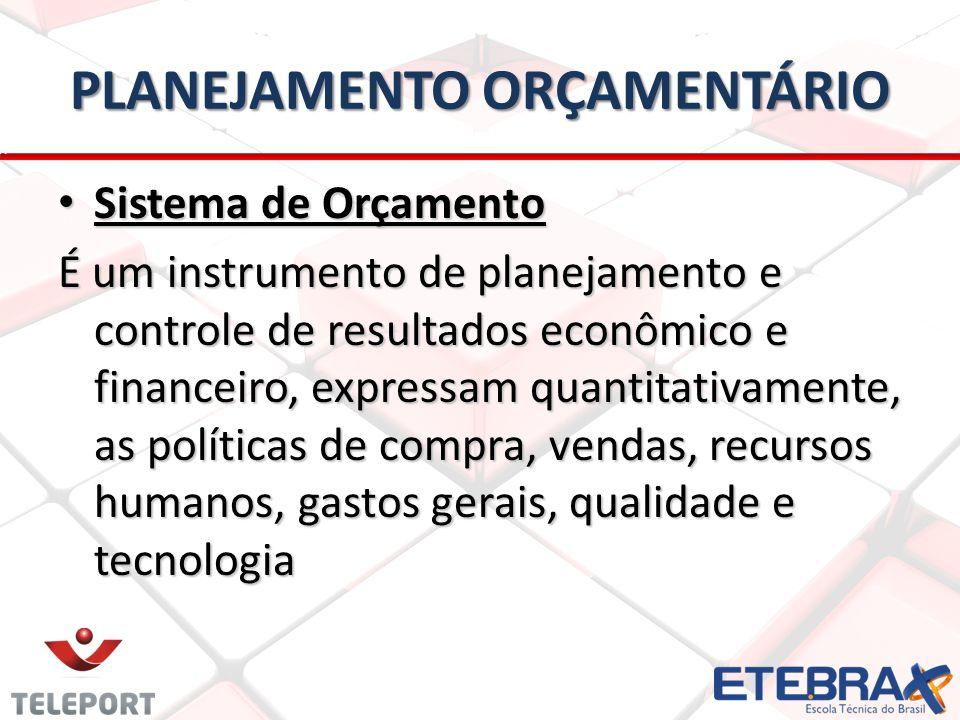 PLANEJAMENTO ORÇAMENTÁRIO Sistema de Orçamento Sistema de Orçamento É um instrumento de planejamento e controle de resultados econômico e financeiro, expressam quantitativamente, as políticas de compra, vendas, recursos humanos, gastos gerais, qualidade e tecnologia