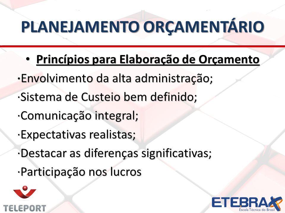 PLANEJAMENTO ORÇAMENTÁRIO Princípios para Elaboração de Orçamento Princípios para Elaboração de Orçamento Envolvimento da alta administração;Envolvime