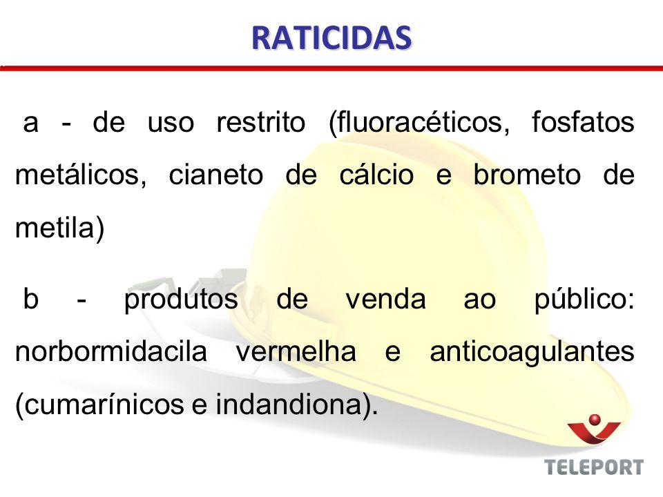 a - de uso restrito (fluoracéticos, fosfatos metálicos, cianeto de cálcio e brometo de metila) b - produtos de venda ao público: norbormidacila vermel