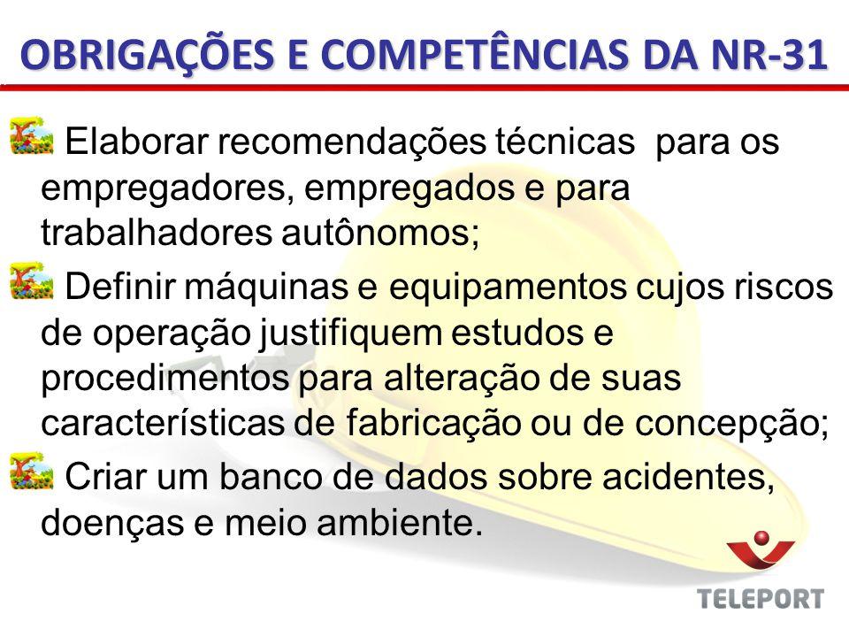 OBRIGAÇÕES E COMPETÊNCIAS DA NR-31 Elaborar recomendações técnicas para os empregadores, empregados e para trabalhadores autônomos; Definir máquinas e