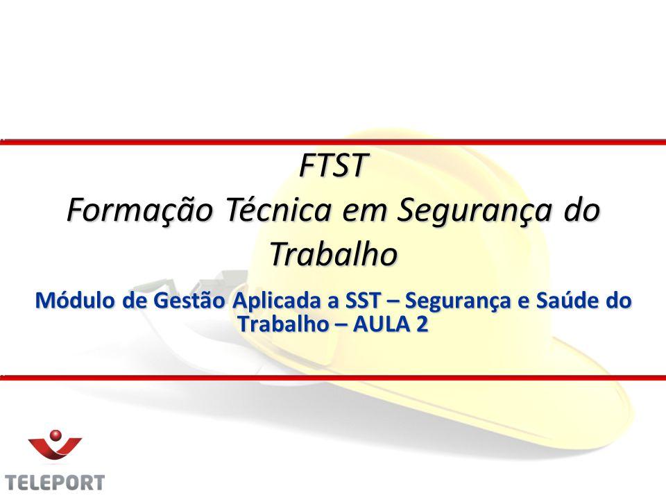 Módulo de Gestão Aplicada a SST – Segurança e Saúde do Trabalho – AULA 2 FTST Formação Técnica em Segurança do Trabalho