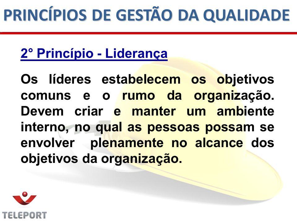 2° Princípio - Liderança Os líderes estabelecem os objetivos comuns e o rumo da organização.