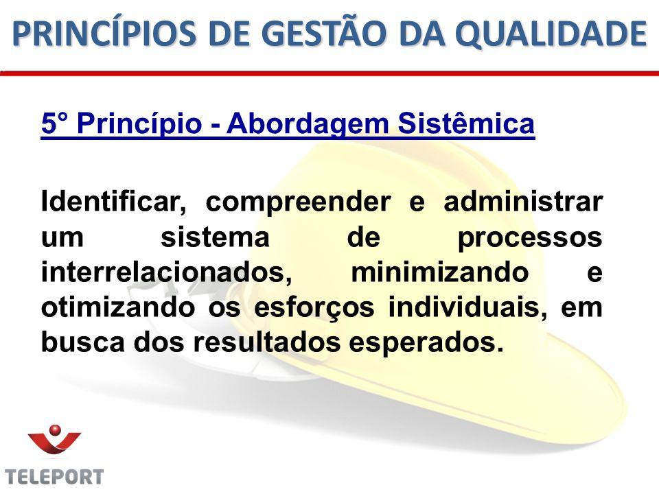 5° Princípio - Abordagem Sistêmica Identificar, compreender e administrar um sistema de processos interrelacionados, minimizando e otimizando os esforços individuais, em busca dos resultados esperados.