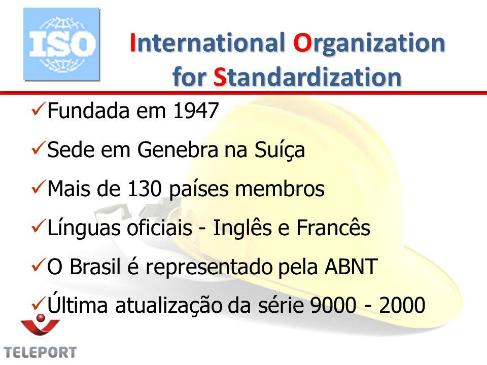 International Organization for Standardization Fundada em 1947 Sede em Genebra na Suíça Mais de 130 países membros Línguas oficiais - Inglês e Francês O Brasil é representado pela ABNT Última atualização da série 9000 - 2000