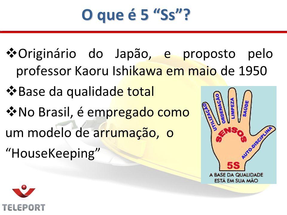 O que é 5 Ss? Originário do Japão, e proposto pelo professor Kaoru Ishikawa em maio de 1950 Base da qualidade total No Brasil, é empregado como um mod