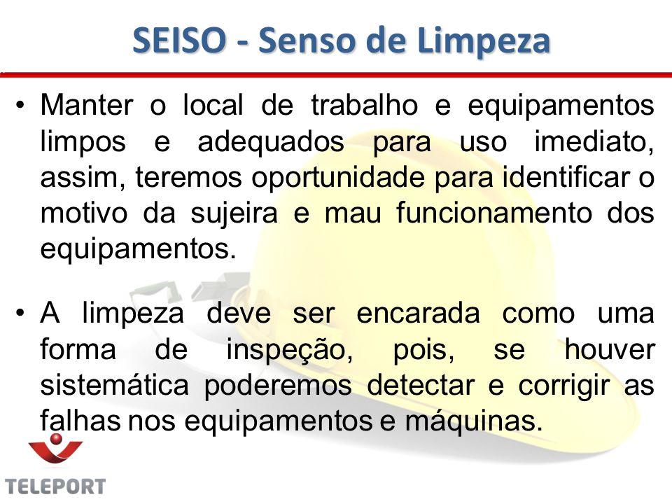 SEISO - Senso de Limpeza Manter o local de trabalho e equipamentos limpos e adequados para uso imediato, assim, teremos oportunidade para identificar o motivo da sujeira e mau funcionamento dos equipamentos.