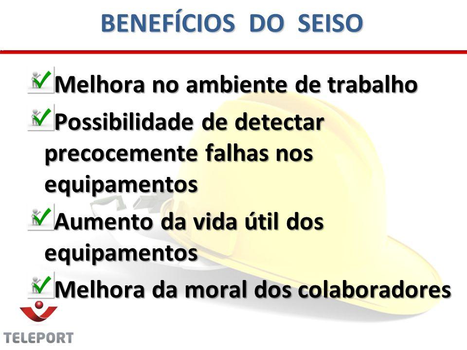 BENEFÍCIOS DO SEISO Melhora no ambiente de trabalho Possibilidade de detectar precocemente falhas nos equipamentos Aumento da vida útil dos equipamentos Melhora da moral dos colaboradores