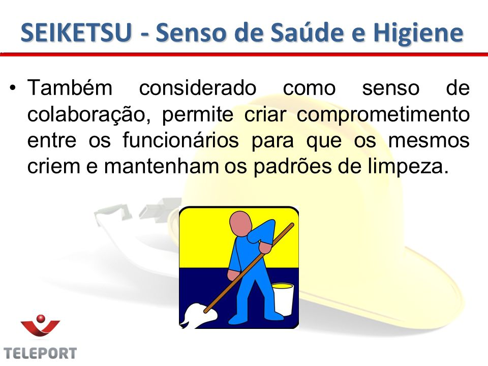 SEIKETSU - Senso de Saúde e Higiene Também considerado como senso de colaboração, permite criar comprometimento entre os funcionários para que os mesmos criem e mantenham os padrões de limpeza.