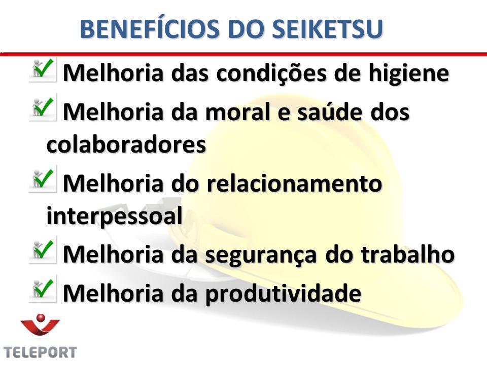BENEFÍCIOS DO SEIKETSU Melhoria das condições de higiene Melhoria das condições de higiene Melhoria da moral e saúde dos colaboradores Melhoria da mor