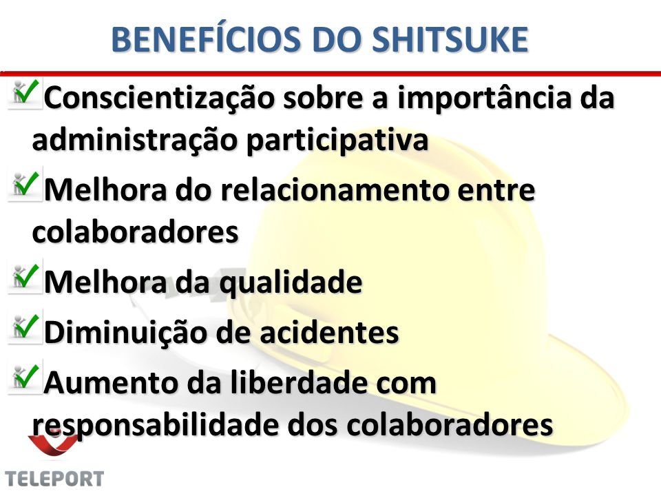 BENEFÍCIOS DO SHITSUKE Conscientização sobre a importância da administração participativa Melhora do relacionamento entre colaboradores Melhora da qualidade Diminuição de acidentes Aumento da liberdade com responsabilidade dos colaboradores
