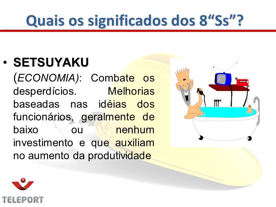 Quais os significados dos 8Ss? SETSUYAKUSETSUYAKU ( ECONOMIA): Combate os desperdícios. Melhorias baseadas nas idéias dos funcionários, geralmente de
