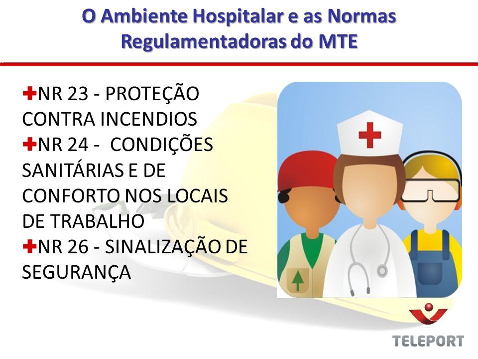 O Ambiente Hospitalar e as Normas Regulamentadoras do MTE NR 23 - PROTEÇÃO CONTRA INCENDIOS NR 24 - CONDIÇÕES SANITÁRIAS E DE CONFORTO NOS LOCAIS DE T