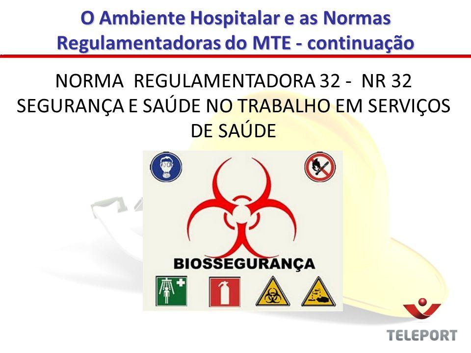 O Ambiente Hospitalar e as Normas Regulamentadoras do MTE - continuação NORMA REGULAMENTADORA 32 - NR 32 SEGURANÇA E SAÚDE NO TRABALHO EM SERVIÇOS DE