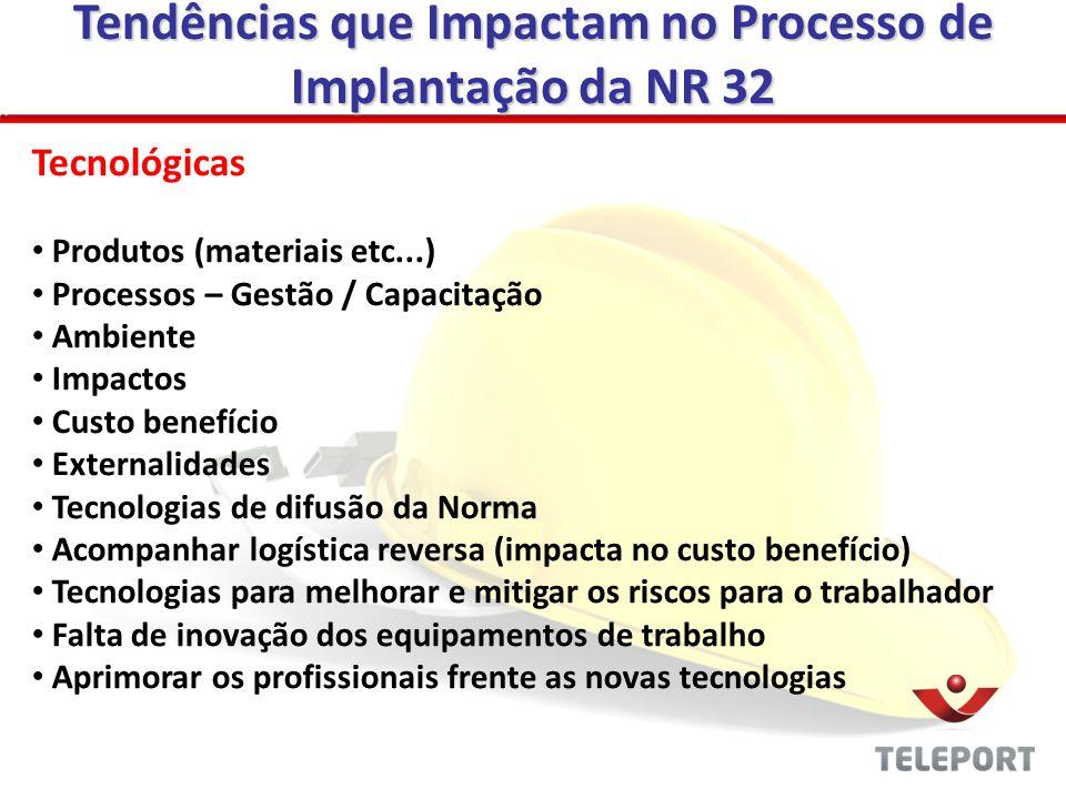 Tendências que Impactam no Processo de Implantação da NR 32 Tecnológicas Produtos (materiais etc...) Processos – Gestão / Capacitação Ambiente Impacto