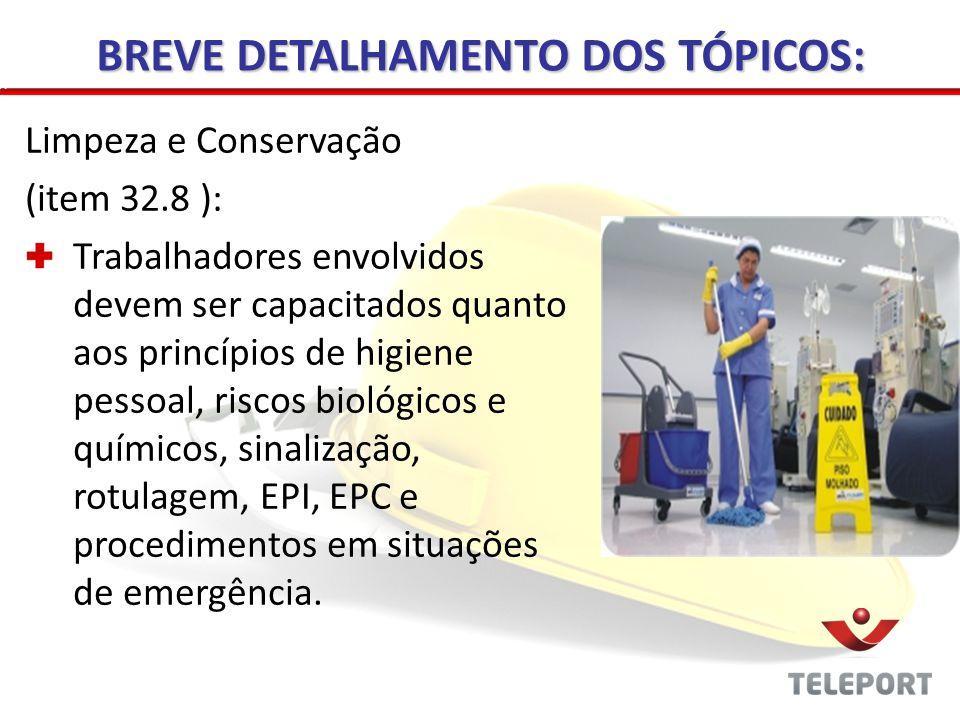 Manutenção de Máquinas e Equipamentos (item 32.9 ): Capacitação Manutenção prévia nas máquinas e equipamentos Manutenção em limpeza nos serviços de climatização BREVE DETALHAMENTO DOS TÓPICOS: