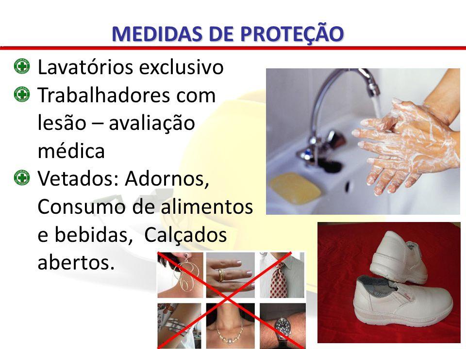 Vacinação: Tétano / Difteria / hepatite B Outras (PCMSO) Controle de eficácia (MS) Registrada no prontuário (NR 07) Vestimentas adequada e condição de conforto Não deixar o local de trabalho Higienização MEDIDAS DE PROTEÇÃO