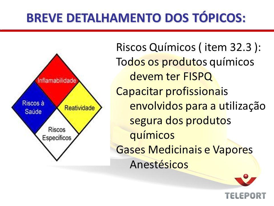 Radiações Ionizantes ( item 32.4): PPR – Plano de proteção Radiológica Capacitação do pessoal envolvido com radiação ionizante Rotina de manutenção dos equipamentos (Portaria 453/98 da Secretaria de Vigilância Sanitária) BREVE DETALHAMENTO DOS TÓPICOS: