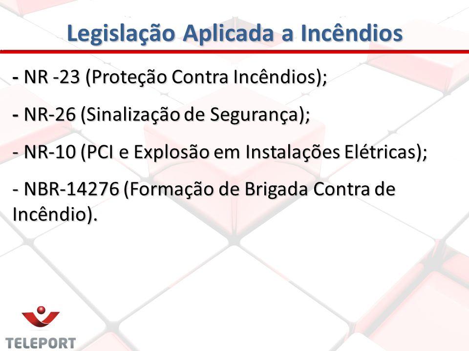 Legislação Aplicada a Incêndios - NR -23 (Proteção Contra Incêndios); - NR-26 (Sinalização de Segurança); - NR-10 (PCI e Explosão em Instalações Elétr