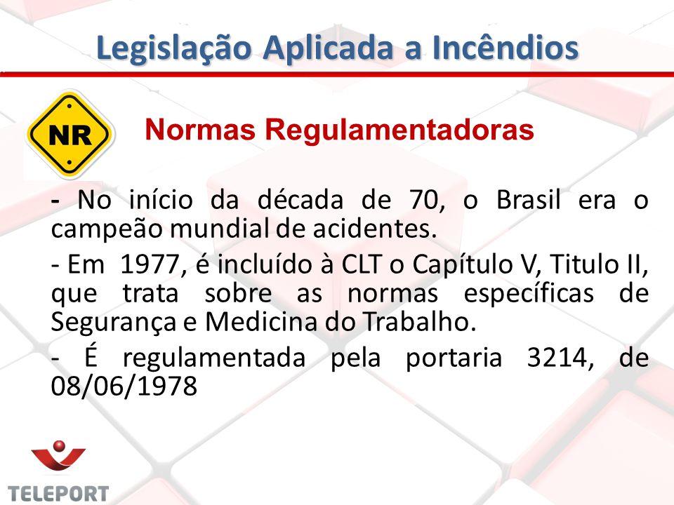 Legislação Aplicada a Incêndios Normas Regulamentadoras - No início da década de 70, o Brasil era o campeão mundial de acidentes. - Em 1977, é incluíd