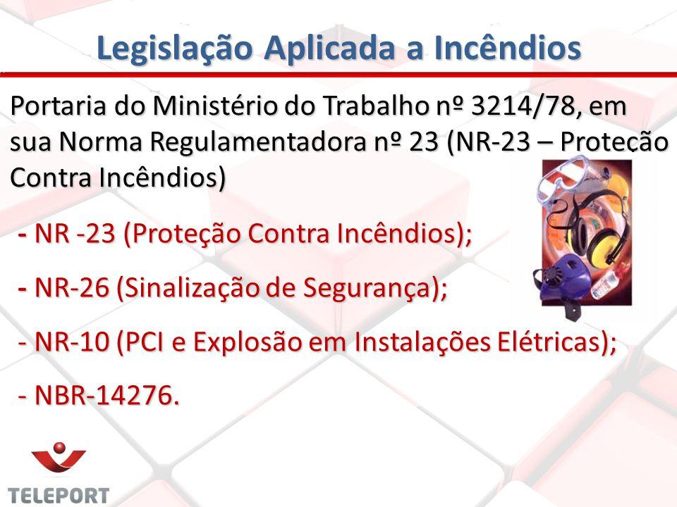Legislação Aplicada a Incêndios Portaria do Ministério do Trabalho nº 3214/78, em sua Norma Regulamentadora nº 23 (NR-23 – Proteção Contra Incêndios)
