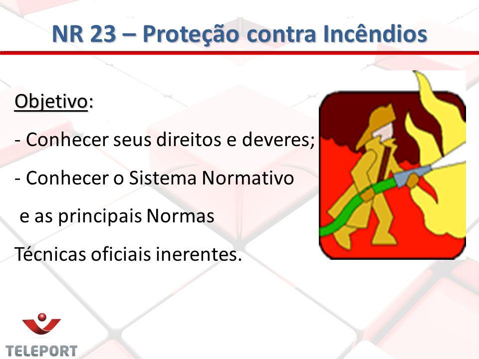 NR 23 – Proteção contra Incêndios Objetivo: - Conhecer seus direitos e deveres; - Conhecer o Sistema Normativo e as principais Normas Técnicas oficiai