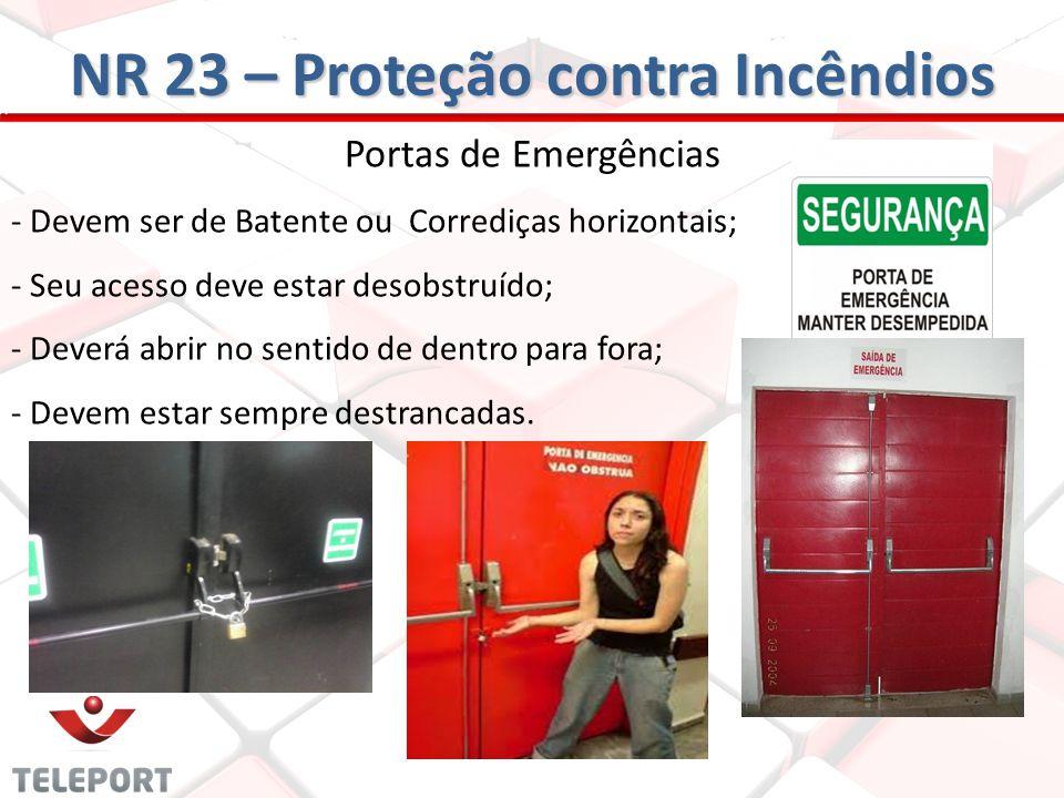 Portas de Emergências - Devem ser de Batente ou Corrediças horizontais; - Seu acesso deve estar desobstruído; - Deverá abrir no sentido de dentro para