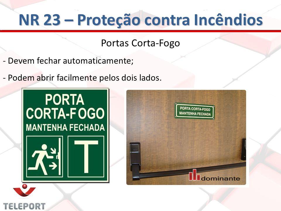 Portas Corta-Fogo - Devem fechar automaticamente; - Podem abrir facilmente pelos dois lados. NR 23 – Proteção contra Incêndios