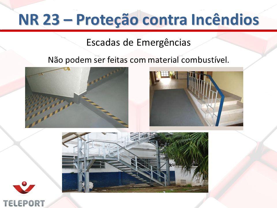 Escadas de Emergências Não podem ser feitas com material combustível. NR 23 – Proteção contra Incêndios