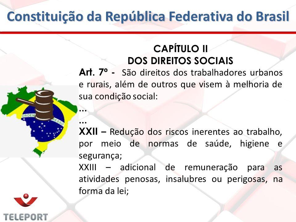 Constituição da República Federativa do Brasil CAP Í TULO II DOS DIREITOS SOCIAIS Art. 7 º - São direitos dos trabalhadores urbanos e rurais, além de