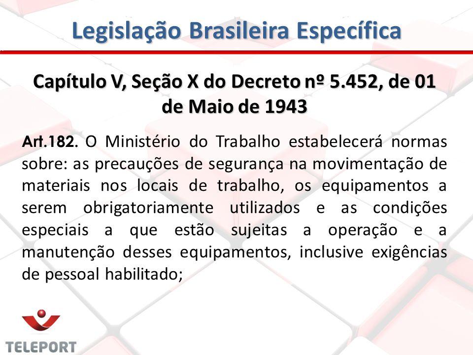 Legislação Brasileira Específica Capítulo V, Seção X do Decreto nº 5.452, de 01 de Maio de 1943 Art.182. O Ministério do Trabalho estabelecerá normas