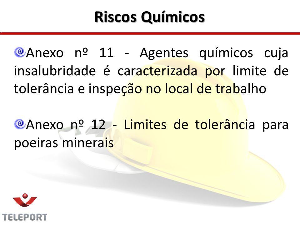 Riscos Químicos Anexo nº 11 - Agentes químicos cuja insalubridade é caracterizada por limite de tolerância e inspeção no local de trabalho Anexo nº 12
