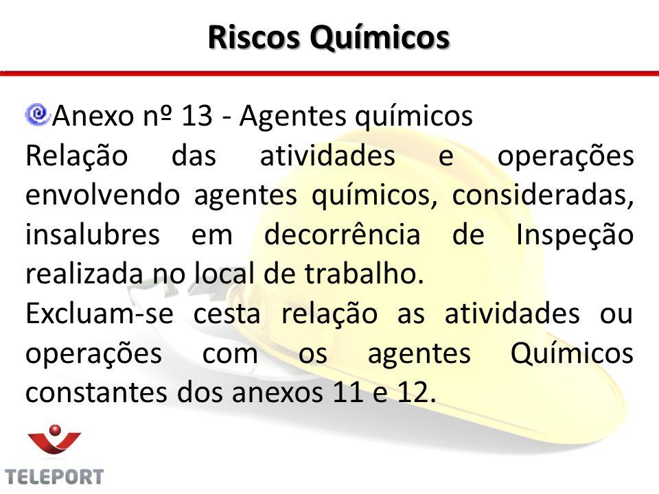 Riscos Químicos Anexo nº 13 - Agentes químicos Relação das atividades e operações envolvendo agentes químicos, consideradas, insalubres em decorrência