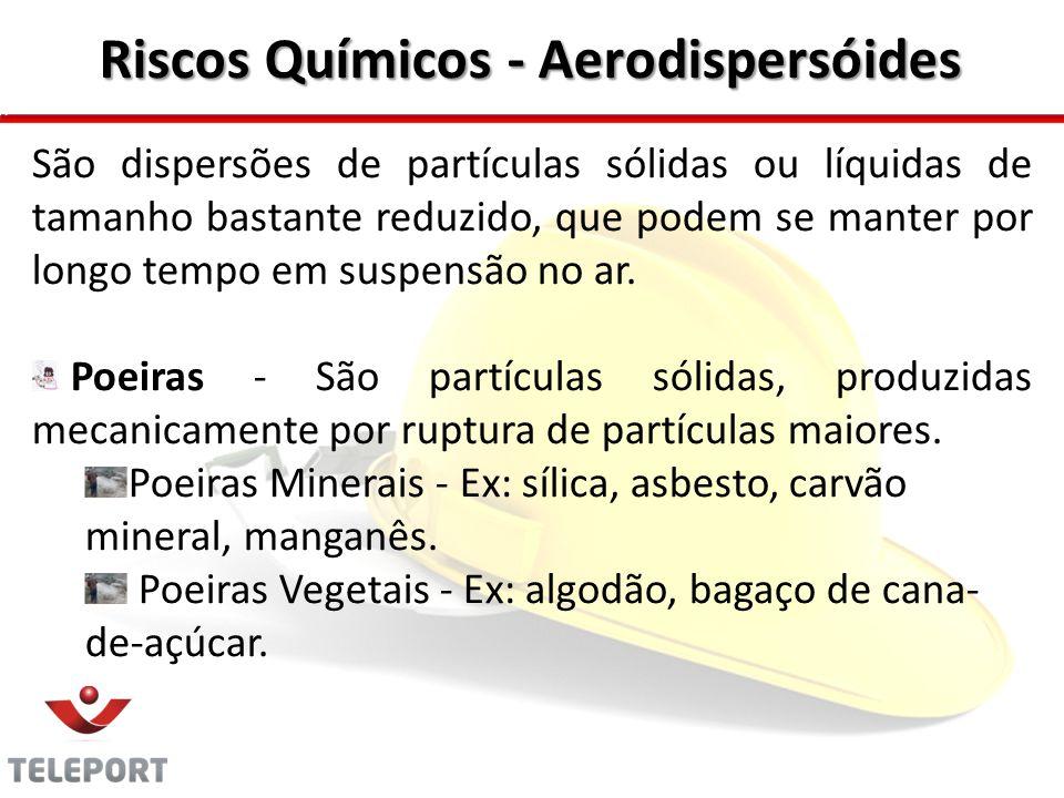 Riscos Químicos - Aerodispersóides São dispersões de partículas sólidas ou líquidas de tamanho bastante reduzido, que podem se manter por longo tempo