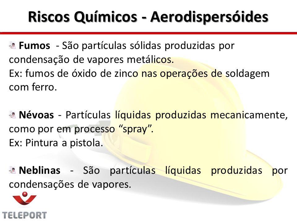 Riscos Químicos - Aerodispersóides Fumos - São partículas sólidas produzidas por condensação de vapores metálicos. Ex: fumos de óxido de zinco nas ope