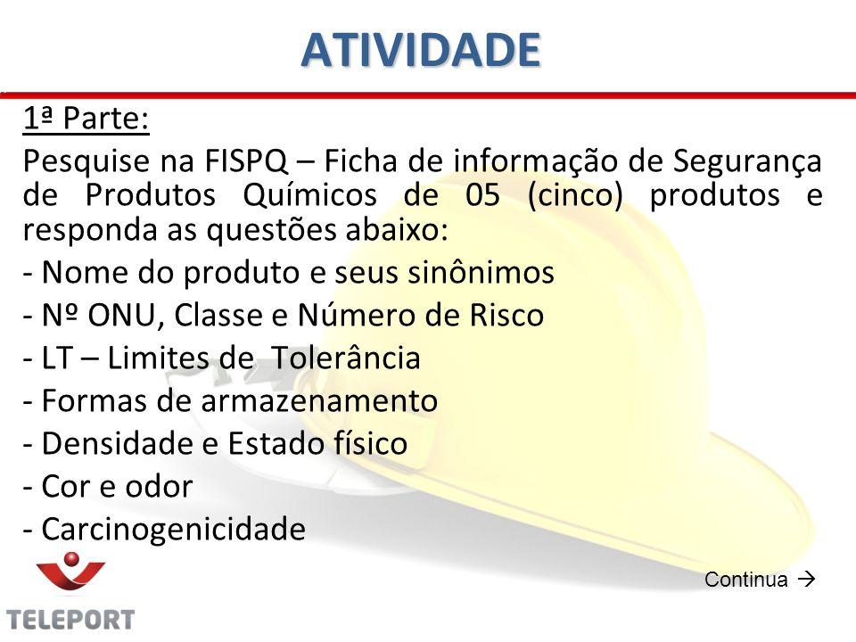 ATIVIDADE 1ª Parte: Pesquise na FISPQ – Ficha de informação de Segurança de Produtos Químicos de 05 (cinco) produtos e responda as questões abaixo: -