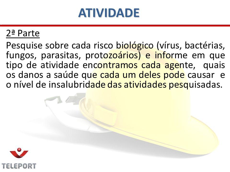 ATIVIDADE 2ª Parte Pesquise sobre cada risco biológico (vírus, bactérias, fungos, parasitas, protozoários) e informe em que tipo de atividade encontra