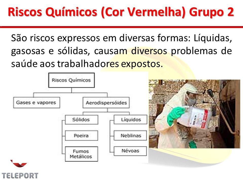 Riscos Químicos (Cor Vermelha) Grupo 2 São riscos expressos em diversas formas: Líquidas, gasosas e sólidas, causam diversos problemas de saúde aos tr