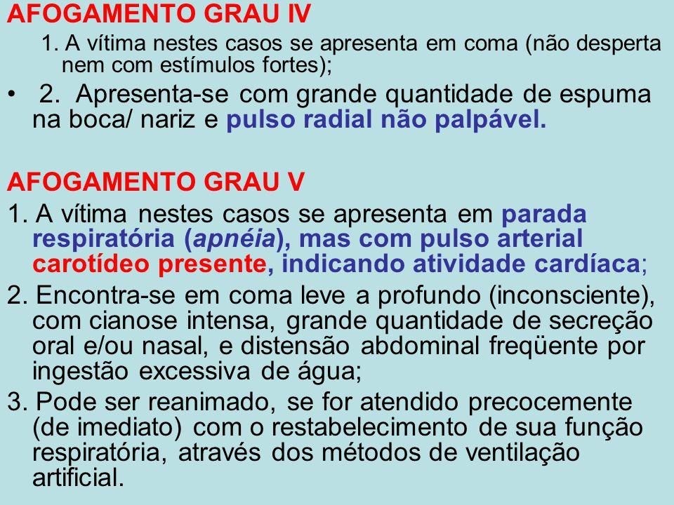 AFOGAMENTO GRAU IV 1. A vítima nestes casos se apresenta em coma (não desperta nem com estímulos fortes); 2. Apresenta-se com grande quantidade de esp