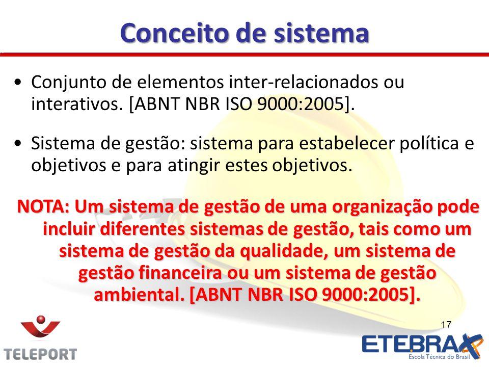 17 Conceito de sistema Conjunto de elementos inter-relacionados ou interativos. [ABNT NBR ISO 9000:2005]. Sistema de gestão: sistema para estabelecer