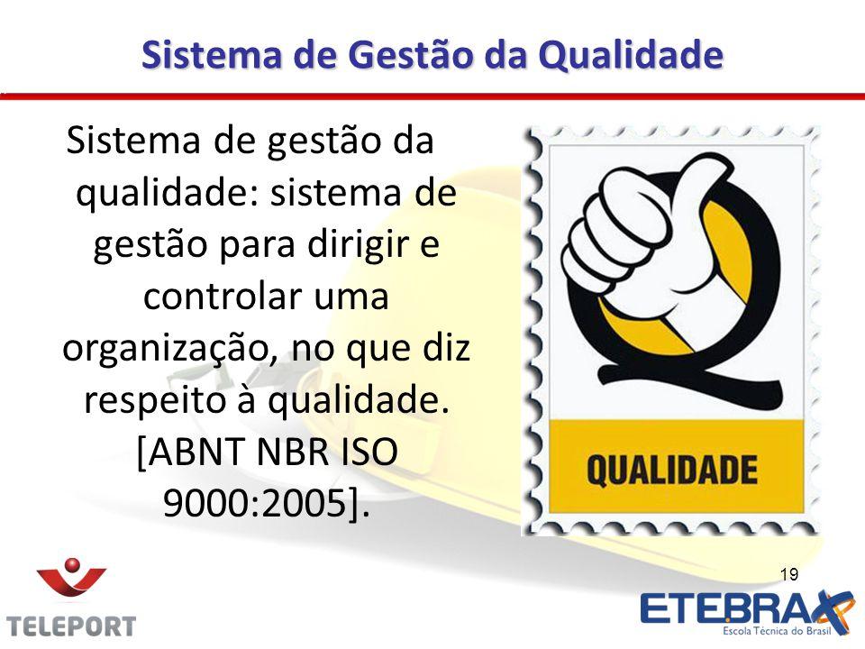 19 Sistema de gestão da qualidade: sistema de gestão para dirigir e controlar uma organização, no que diz respeito à qualidade. [ABNT NBR ISO 9000:200