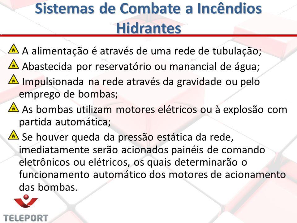 Sistemas de Combate a Incêndios Hidrantes A – Reservatório; B – Canalizações; C – Abrigos com seus acessórios: - Linhas de mangueiras; - Esguichos; -